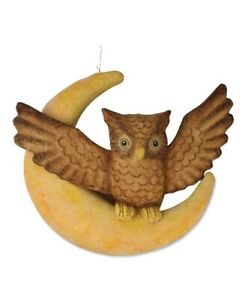 "TJ3138 Large 16"" Hanging Brown Owl on Crescent Moon Halloween Figure Decoration"