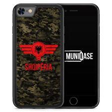 iPhone 8 Hülle SILIKON - Albanien Camouflage mit Schriftzug - Motiv Design Mili