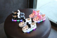 Toddler Kids Bowknot Children Baby Heart Shoes LED Light Up Luminous Sneakers SX