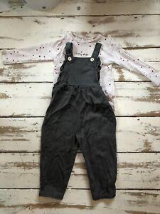Zara Kids Age 3-4 Grey Dungerees And Top Set