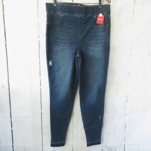 New $128 Spanx Jeans 2X Blue Skinny High Rise Slimming Pull On Distress Raw Hem