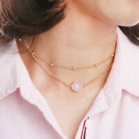 Women Jewelry Glamorous 2 Layer Natural Opal Crystal Pendant Choker Necklace