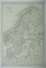 Antique map of Norway and Sweden by J.W. Lowry 1852
