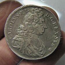 More details for rare sweden 1694, silver 4 mark, karl xii (1697-1718): stockholm . hi grade coin