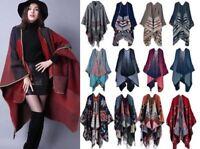 Womens Fashion Ladies Knitted Open Poncho Cape Blanket Winter Tassels Wrap Shawl
