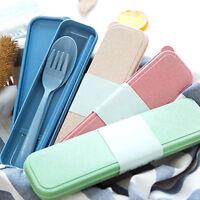 LN_ DR7 3Pcs/Set Portable Utensils Cutlery Wheat Straw Spoon Fork Chopsticks P