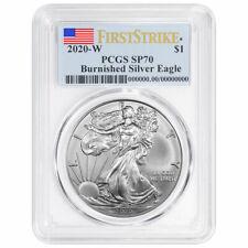 2020-W Burnished $1 American Silver Eagle PCGS SP70 FS Flag Label