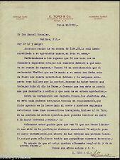 ANTIQUE COMMERCIAL LETTER / E. TORO & CO / PONCE PUERTO RICO / 1915