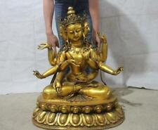 China bronze Gild Four Face Head Eight Arm Hands Ushnisha Vijaya Kwan-Yin Buddha