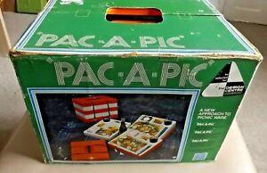 Vintage VW Pac 'A' Pic Orange/White Stacking Picnic Set In Original Box - 1970's
