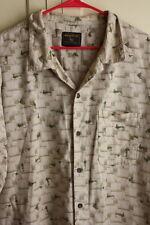 Woolrich Fly Fishing Lures Mens Button Up Short Sleeve Shirt Siz XXL 100% Cotton