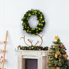 Corona de Navidad Guirnalda Decorativa Navidad 50 Luces LED Blanco Cálido Φ55cm