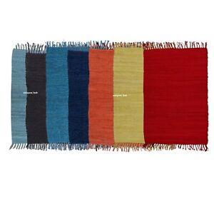 Packung 7 Teppich 100% Natürlich Baumwolle 0.6x0.9m Fläche Hand Gewebt
