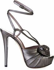 Versace Metallic Leather Sandals with Rose Detail in Gray Size 36 UK 3 US 6