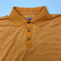 Kirkland Polo Shirt Mens Medium Orange Stripe Short Sleeve Casual Golf