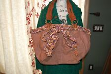 Anthropologie Deux Lux Floral Linen Handbag Hobo Purse Tote Bow and Detailed