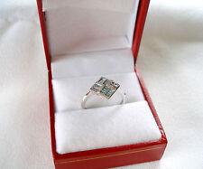 KREMENTZ-  .32 Ct. Fancy Enhanced Blue & White Diamond  14k White Gold Ring