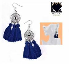 MACKRI Chrysanthemum Flower Design Short Tassel Hook Drop Earrings DARK BLUE