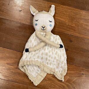 Lulujo Baby Brown & White Muslin LLAMA LOVEY Security Blanket Farm