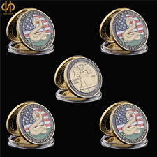 5PCS 1776 American Snake Liberty Bell Medal Commemorative Coin Gift Collection