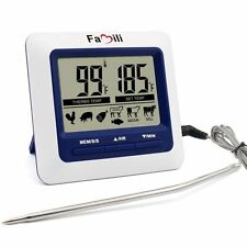 Famili Electric Digital LCD Kitchen Food Meat Alarm Probe Oven Thermometer Timer