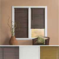 "Window Blind 2"" Slats Cordless Mini Blinds Vinyl Embossed Woodgrain"