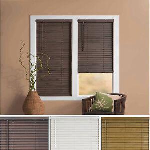 """Window Blind 2"""" Slats Cordless Mini Blinds Vinyl Embossed Woodgrain"""