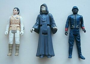 3 Vintage Star Wars Figures BESPIN SECURITY GUARD, PRINCESS LEIA HOTH, EMPEROR