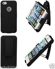 APPLE iPHONE 5 / 5S / SE HARD CASE HOLSTER COMBO w/ SWIVEL STAND ACCESSORY BLACK
