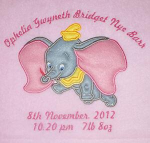 Disney Flying Dumbo Luxury Personalised Applique Super Soft Fleece Blanket