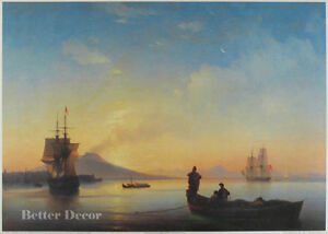 "28"" PRINT Bay of Naples by Aivazovsky ANTIQUE MUSEUM ART - SEA SHIPS"