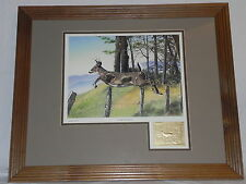 "Mark Alvin ""OVER THE FENCE"" Deer Print Framed W/ 22 KT Gold Stamp 22.5"" x 18.5"""