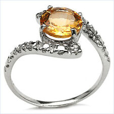 925 Sterling Silver Ring Decorated With Genuine Citrine & Diamond Size: N