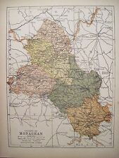 Irish Map County MONAGHAN Ireland Carrickmacross Clones PW Joyce 1905 9.5x7