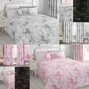Unicorns and Stars Glow in the Dark Duvet cover and pillowcase Bedding Set