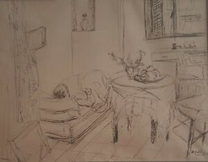 SHIMSHON HOLZMAN , Ink on Paper, Interior & Still Life , Signed, Early Work 1938