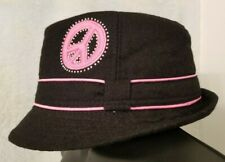 Justice Girls Black Pink Purple Peace Sign Design With Gems Hat Size One Size