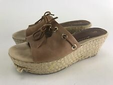 Sperry Top Sider Women's Khaki Slingback Wedges 7.5 M Canvas and Leather Rope