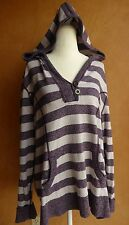 STYLE & CO. WOMAN Plus Size 3X Heathered Plum Cream Stripe Pullover Hood Sweater
