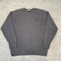 GLENMUIR Mens Knit Jumper 2XL Grey Wool Blend Logo Embroidered Pullover