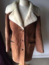 Vintage Ladies Real Sheepskin Shearling Coat Jacket Tan L