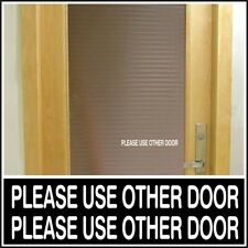 Office Shop Decal PLEASE USE OTHER DOOR business entrance glass door sign WHITE