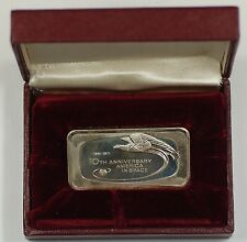 Franklin Mint 1000 Grain Sterling Silver 10th Anniversary in Space Commem. Ingot