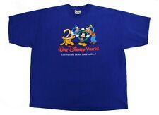 Vintage Disney Men's 2000 Walt Disney World T-Shirt Blue Mickey Goofy Donald XXL