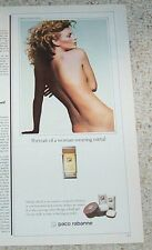 1983 print ad -Paco Rabanne metal Sexy nude girl vintage Advertising ADVERT Page