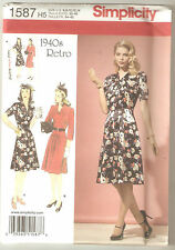 Simplicity Sewing Pattern 1587 Miss Retro Vintage Style 1940's Dresses Sz 6-14