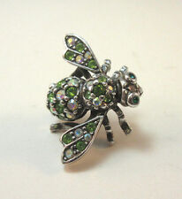 JOAN RIVERS CLASSIC COLLECTION SILVER TONE BEE W/ AURORA & EMERALD STONE PIN *