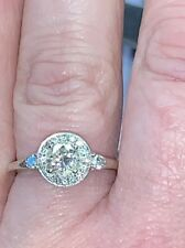 Engagement Ring 14k Wg Appraisal $4420 Vintage Style Halo 0.85 Ctw Round Diamond