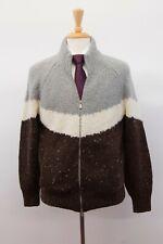 NWT $2675 Brunello Cucinelli Cashmere-Alpaca Color-Block Cardigan Sz50/40US A201
