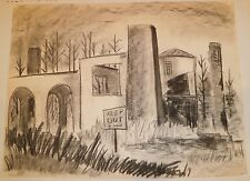 Abandoned Building/Keep Out Charcoal Drawing-1960s-Jan Gary